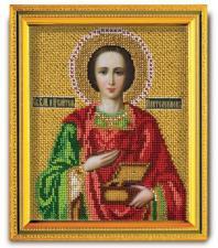 """Икона из ювелирного бисера """"Св.Вм.Пантелеймон"""". Размер - 12 х 14,5 см."""