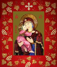 Богородица Владимирская в рамке. Размер - 37 х 44,5 см.