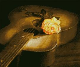 Гитара и роза. Размер - 56 х 47 см.