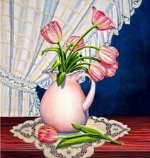Тюльпаны у окна. Размер - 41 х 43 см.