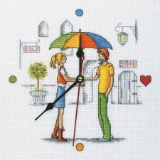 Часы.Встреча под зонтом. Размер - 25 х 25 см