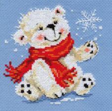 Белый медвежонок. Размер - 12 х 13 см.
