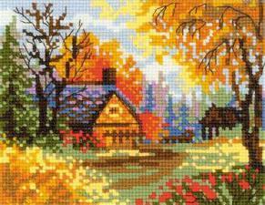 Деревенский пейзаж. Осень. Размер - 20 х 16 см.