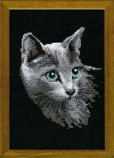 Серый кот. Размер - 21х30 см
