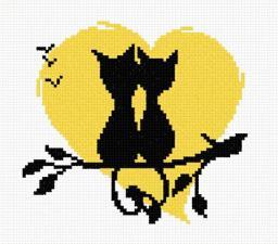 Влюблённые коты 3. Размер - 15 х 13 см.