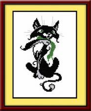Кот с шарфом. Размер - 14 х 22 см.