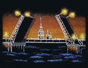 Ночной Петербург. Размер - 36 х 25 см.
